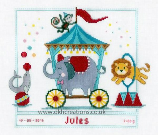 Circus II Birth Sampler Cross Stitch Kit